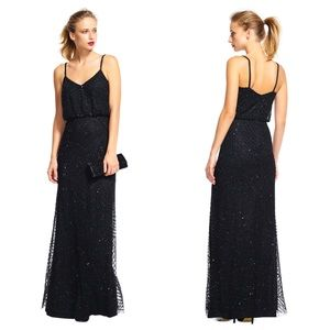 Adrianna Papell Art deco blouson beaded gown Black